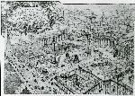 """Illustrazione num. 4: """"Due versioni del demenziale progetto di Armando Brasini per lo sventramento del centro di Roma (1925-26). Tra il Corso e il Pantheon tutto viene demolito, rimangono in piedi solo la Colonna Antonina, l'obelisco di Montecitorio e le colonne di Piazza di Pietra, il Pantheon isolato tra baracconi edilizia (è il progetto che Mussolini in un primo tempo prende sul serio e che poi liquida)"""""""