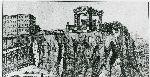 """Illustrazione num. 6: """"Progetto dell'arch. O. Frezzotti (quello che poi costruì Littoria) per il trasporto dell'Ara Pacis sul Campidoglio tutto raschiato, sotto una specie di baldacchino dorico-romanesco""""."""