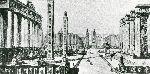 """Illustrazione num. 7: """"Sventramento e ricostruzione romanesco-babilonese del centro di Roma, a oriente del Corso, secondo il progetto del gruppo """"La Burbera"""", capeggiato da G. Giovannoni (7), strenuo difensore degli ambienti antichi""""."""